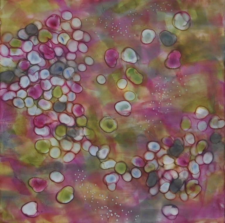 "Kay Hartung's ""Bio Flow 4"" is composed of microscopic images multiplying and connecting. In colors of pink, green and gray, the painting simulates a fusion of cells. Painted with encaustic and pastel, it measures 16 x 16 x 2 on a cradled birch"