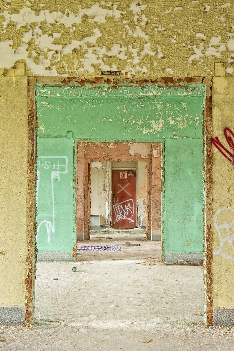 """Succession"", Rebecca Skinner, color photo, metal print, abandoned, hospital - Photograph by Rebecca Skinner"