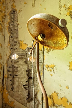 """Aged"", Rebecca Skinner, color photo, metal print, abandoned, yellow, lamp"