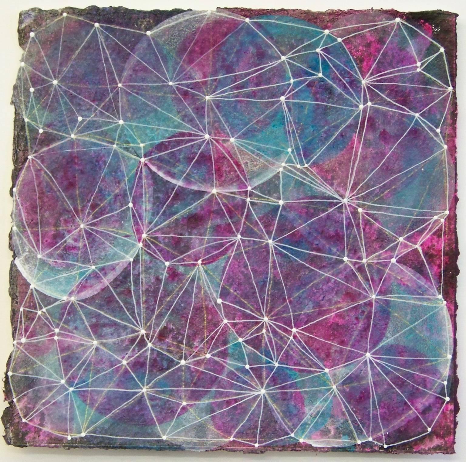 """Inner Garden 14"", abstract, mixed media, magenta, teal, white, black, dots"