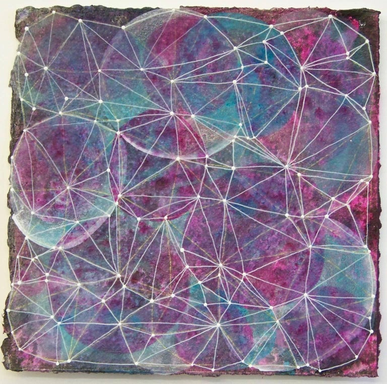"""Denise Driscoll Abstract Drawing - """"Inner Garden 14"""", abstract, mixed media, magenta, teal, white, black, dots"""