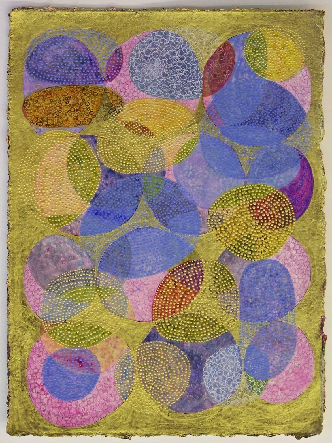 """Inner Garden 4"", abstract, mixed media, painting, gold, blue, magenta"
