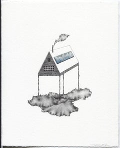 """Cloud Minder"", landscape, graphite and gouache drawing on rag paper, house"