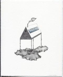 """""""Cloud Minder"""", graphite, gouache, drawing, house, landscape, silver, blue"""