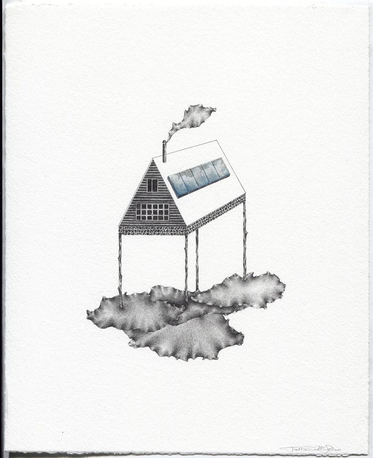 """Cloud Minder"", graphite, gouache, drawing, house, landscape, silver, blue - Mixed Media Art by Tatiana Flis"