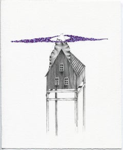 """Whispered Apace"", Tatiana Flis, graphite, gouache, drawing, purple, house"