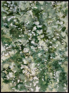 """Summer Shadows 3"", contemporary, landscape, acrylic on paper, green, white"