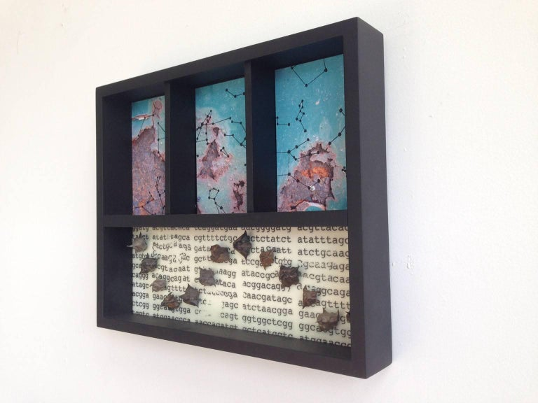 """Tracy Spadafora's piece, """"Vestige (Part 9)"""", from her Vestige Box Series, is a 13 x 16 x 2.5 inch mixed media assemblage in white, blue, black and various other colors. The piece is supported by a wooden shadow box frame painted black. The bottom of"""