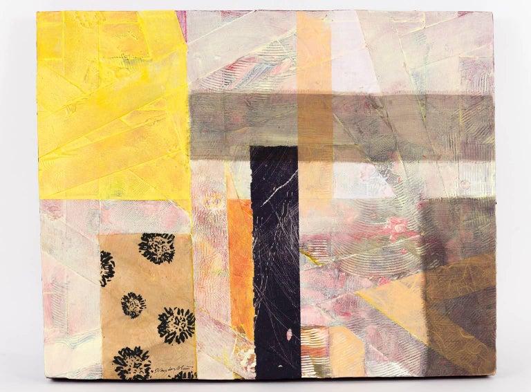 """Criss Cross: Yellow, Pink"", Sylvia Vander Sluis, mixed-media, fabric, acrylic - Mixed Media Art by Sylvia Vander Sluis"