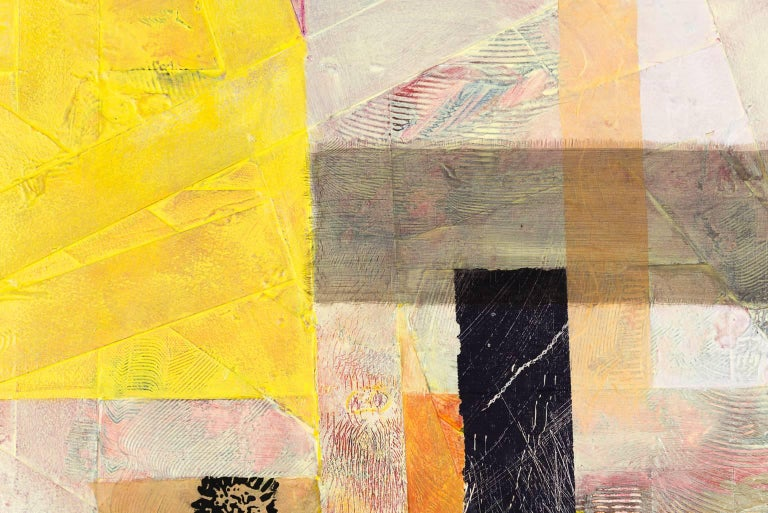 """Sylvia Vander Sluis's """"Criss Cross: Yellow, Pink"""" is 26 x 33 x 1.5 inches. Subtle colors dominate, creating a quiet mood, with spots of yellow and purple. Materials include paper, fabric, acrylic paint, and woodcut print. Sides are painted and the"""
