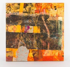 """""""Dense Space"""", Sylvia Vander Sluis, mixed media, collage, acrylic, orange"""
