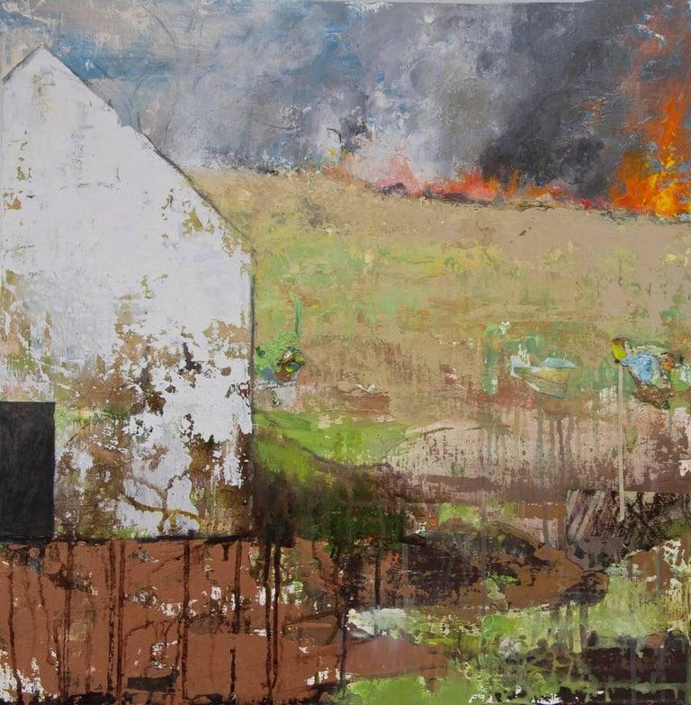 """""""Distant Fire"""", Brenda Cirioni, contemporary, mixed media, landscape, white barn - Mixed Media Art by Brenda Cirioni"""