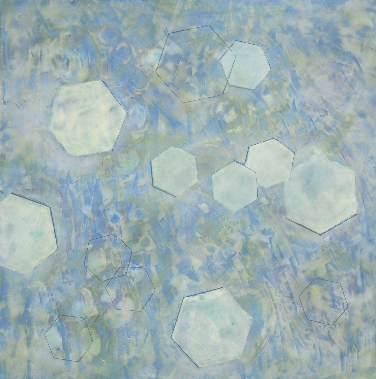 """Bio Patterns 3"", encaustic, pastel, geometric, abstract, microscopic, blues"