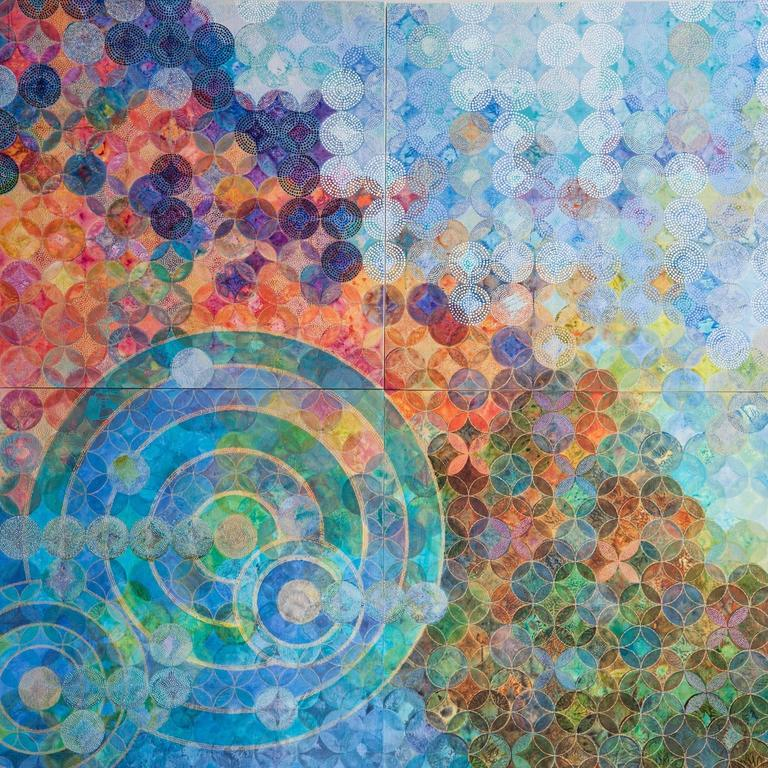 Denise Driscoll Abstract Painting - Circles 30 (Elemental)