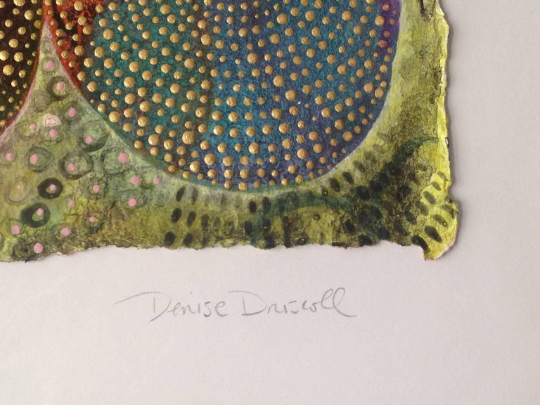Inner Garden 5 - Brown Abstract Painting by Denise Driscoll