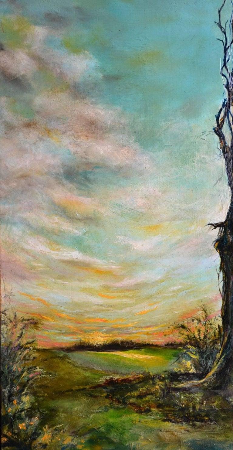 Spring Rising - Beige Landscape Painting by Anita Loomis