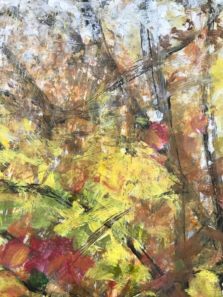 Tree Light Fall 4 - Brown Abstract Painting by Cheryl Clinton