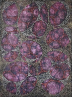 """""""Between 7"""", Denise Driscoll, abstract, acrylic painting, webs, magenta, black"""