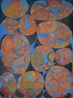 """""""Between 8"""", Denise Driscoll, abstract, acrylic painting, orange, blue, black"""