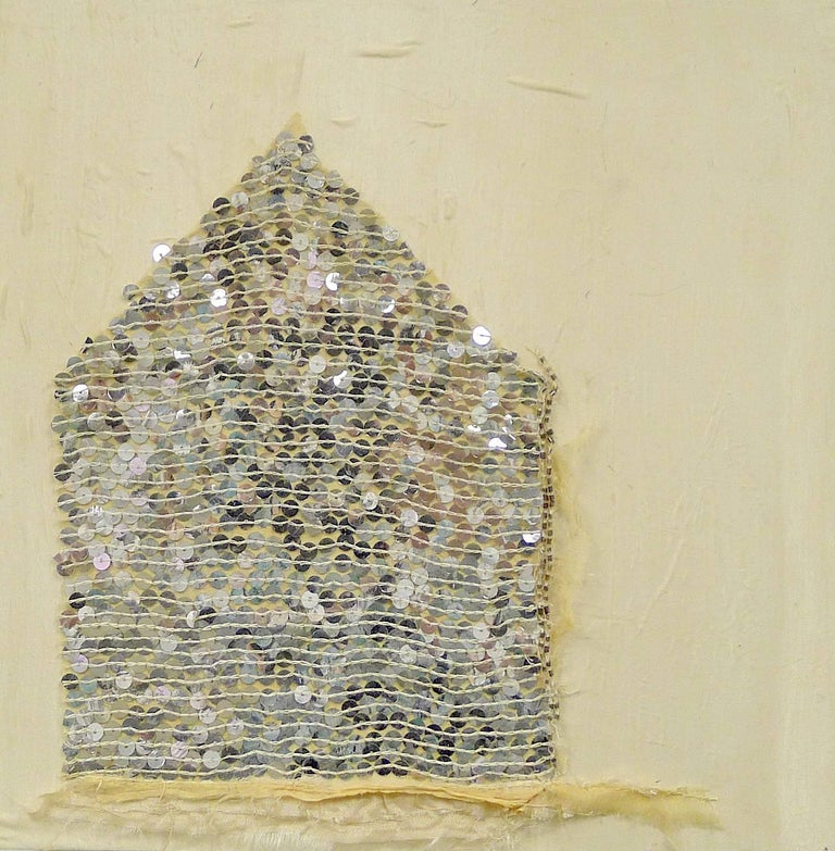 """Viv's Sequins"", Brenda Cirioni, mixed media, collage, landscape, house, neutral - Painting by Brenda Cirioni"
