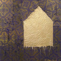 """Gold"", Brenda Cirioni, mixed media, fabric, collage, landscape, house, purple"