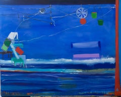 """Helping Mark Rothko to Move his Furniture"", Alexandra Rozenman, oil paint, blue"