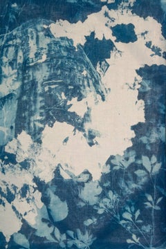 """Crane 2"", contemporary, landscape, cyanotype photograph on linen, blue"