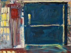 """The Freight Elevator"", oil painting, textural, factory, blue, red, door"
