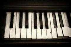 """Cold Keys"", photograph, vintage, piano, black and white, metal print"