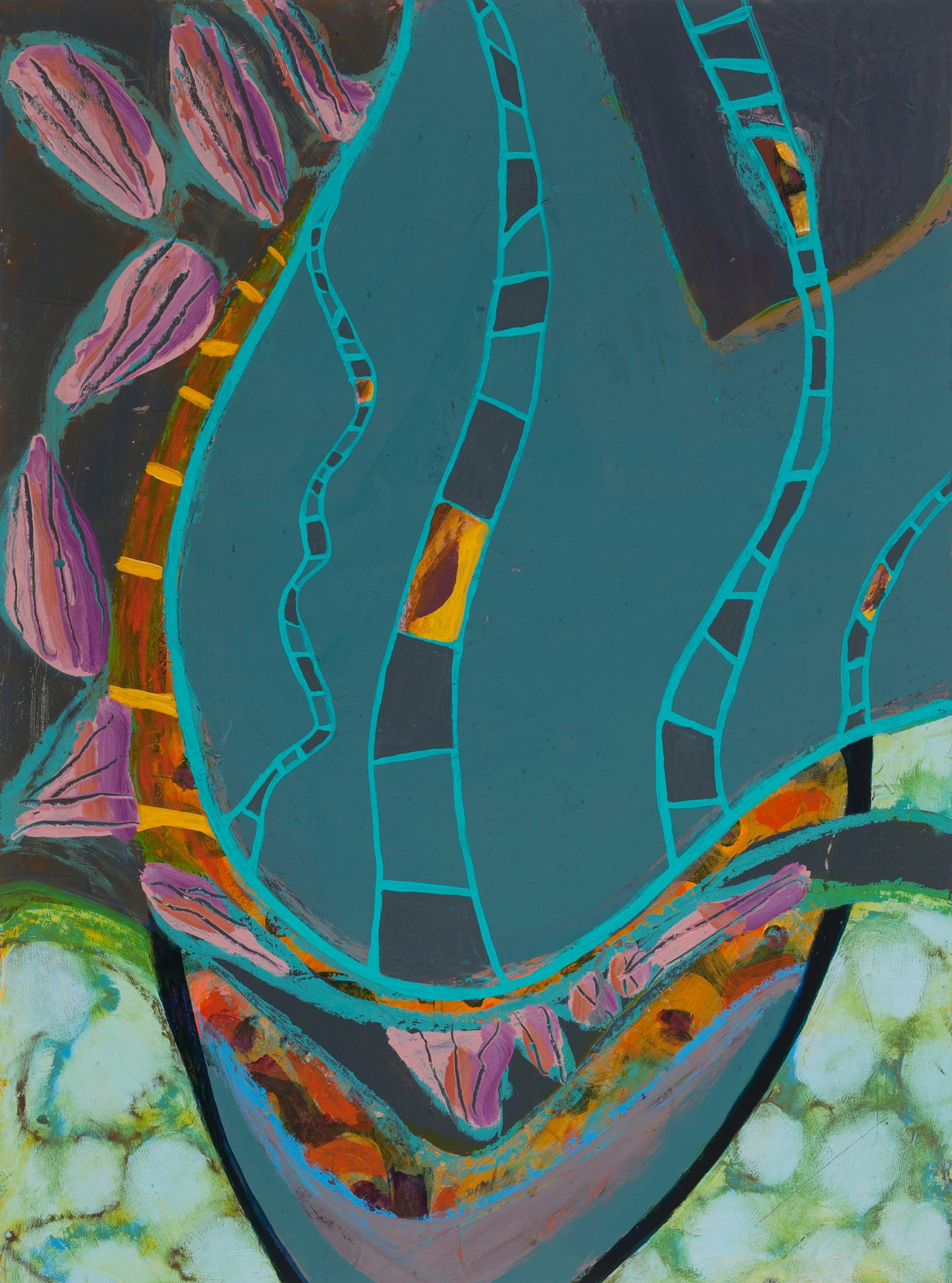 """""""Ladders"""", oil pastel, acrylic painting, abstract, grey, teal, yellows, pinks"""