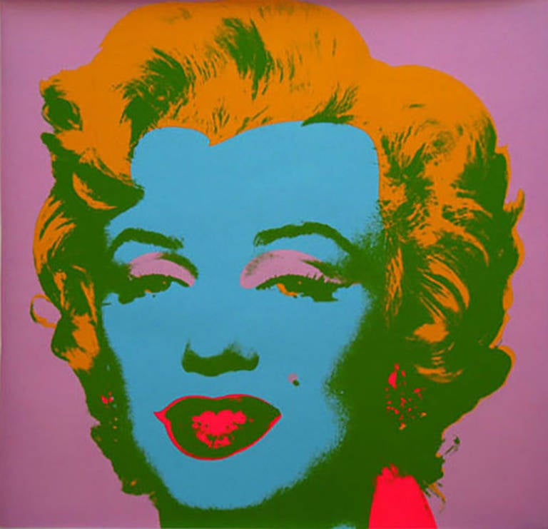 andy warhol marilyn monroe screenprint with orange hair and blue face