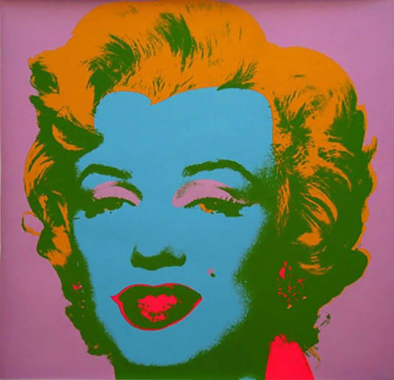 Andy Warhol, Marilyn Monroe (Marilyn), 1967 Screen Print, orange hair and blue face