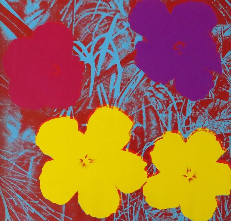 andy warhol flowers 1970 yellow pink and purple flowers fs 71