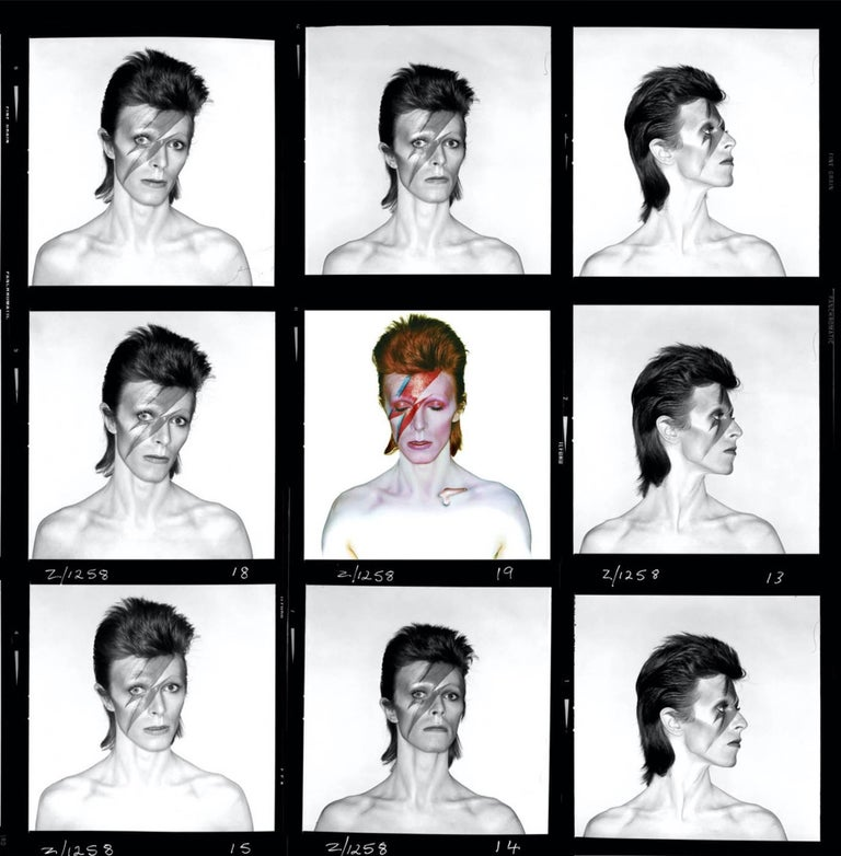<i>David Bowie, Aladdin Sane 'Demi' contact sheet</i>, 1973, by Brian Duffy. Offered by Mr Musichead Gallery