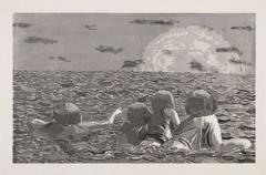 Untitled (Sea Sunset) Woodcut Print by Fang Lijun