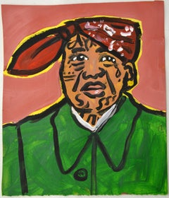 Gang Leader Mao / Small Painting on Paper by Jeffrey Hargrave