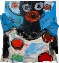 Work Clothes, Small Assemblage Painting on Paper by Jeffrey Hargrave