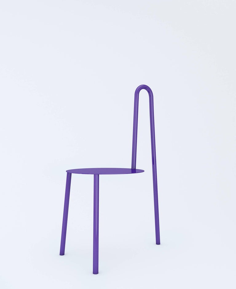 Contemporary Chair by Crosby Studios, Metal with Purple Powder Coating, 2018 For Sale 1