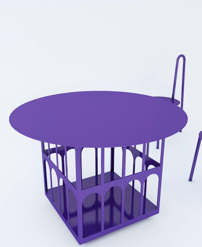 Table with Storage by Crosby Studios, Metal with Purple Powder Coating, 2018