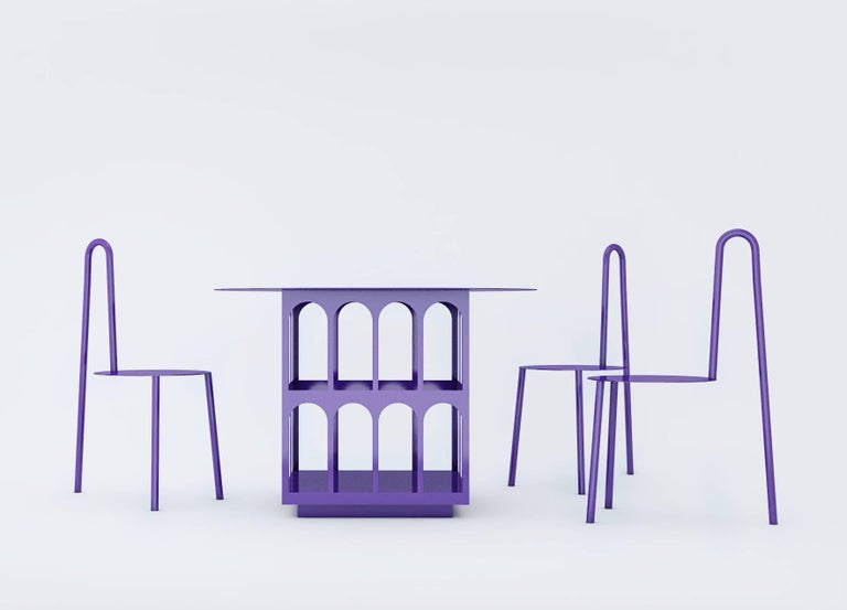Contemporary Chair by Crosby Studios, Metal with Purple Powder Coating, 2018