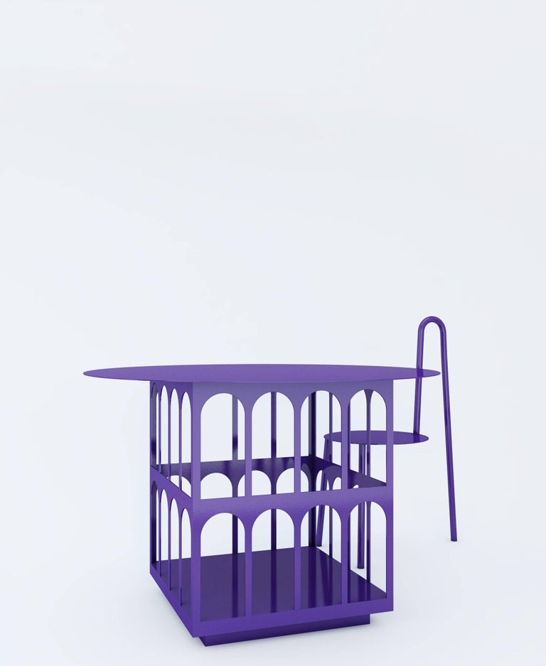 Contemporary Chair by Crosby Studios, Metal with Purple Powder Coating, 2018 For Sale 2