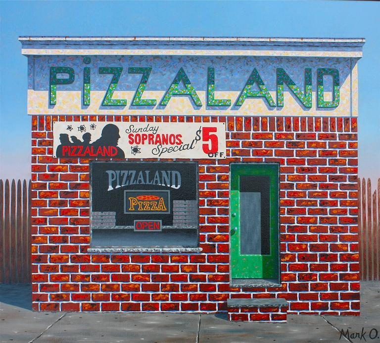 Mark oberndorf pizzaland painting at 1stdibs for Hendrickson s fine jewelry