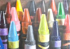 17 Crayons -- Original Oil Painting