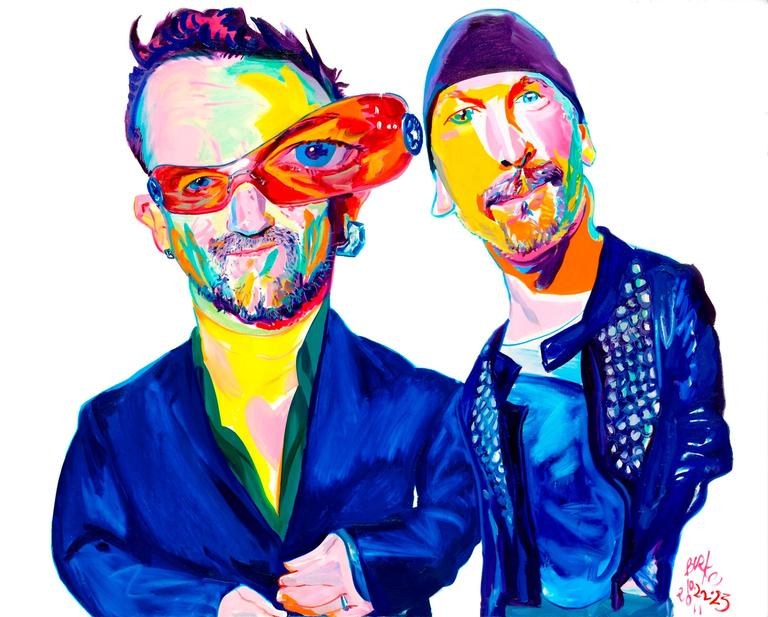 U2 -- Bono and The Edge Suddeutsche Zeitung Cover Original Oil Painting