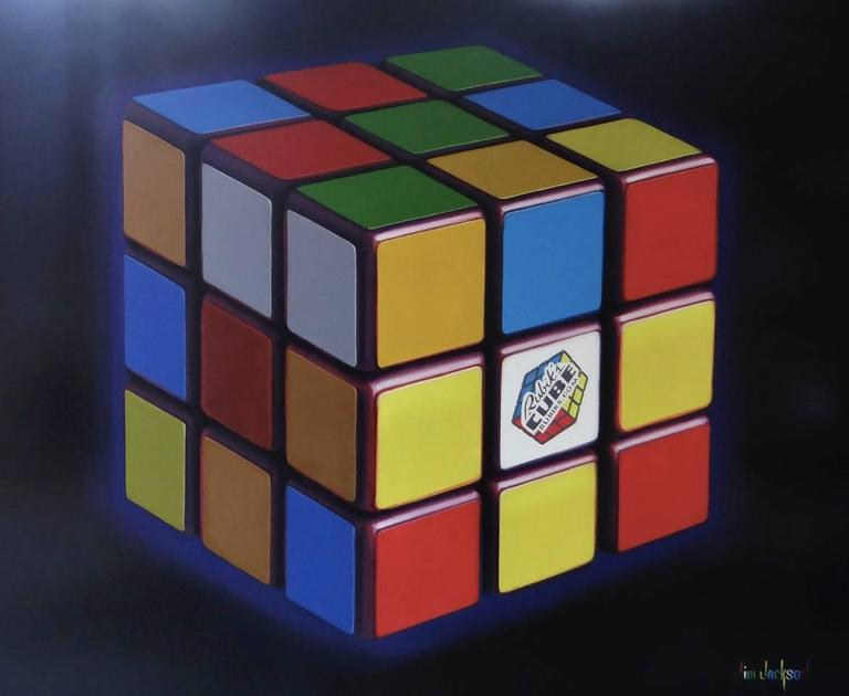 jim jackson rubik 39 s cube original oil painting painting for sale at 1stdibs. Black Bedroom Furniture Sets. Home Design Ideas