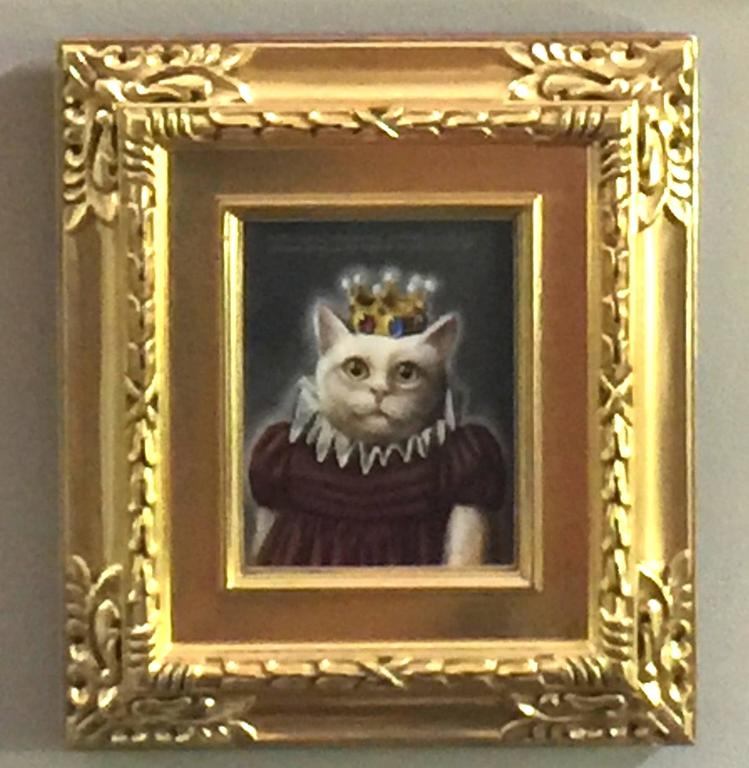 Donald Roller Wilson Animal Painting - Miss Pussy America Wearing Her Cubic Zirconia Crown