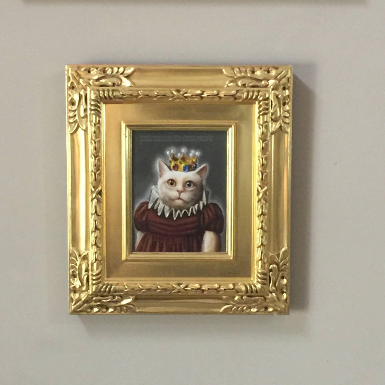 Miss Pussy America Wearing Her Cubic Zirconia Crown - Brown Animal Painting by Donald Roller Wilson