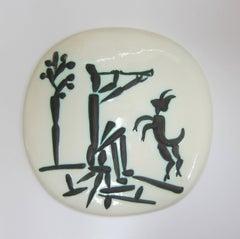 Joueur de Flûte et Chèvre Picasso Madoura Ceramic Ramie 382