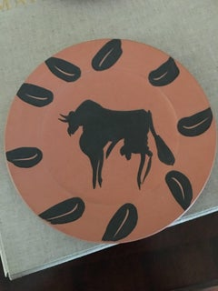 Bull With Leaves Ramie 394 Picasso Madoura Ceramic