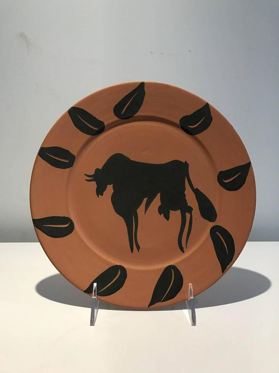 Bull With Leaves Ramie 394 Picasso Madoura Ceramic  - Sculpture by Pablo Picasso